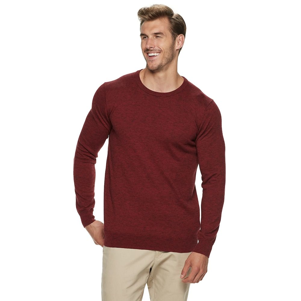 "c2cd462a71 Big & Tall SONOMA Goods for Lifeâ""¢ Supersoft Modern-Fit Crewneck Sweater,  Dark Red"