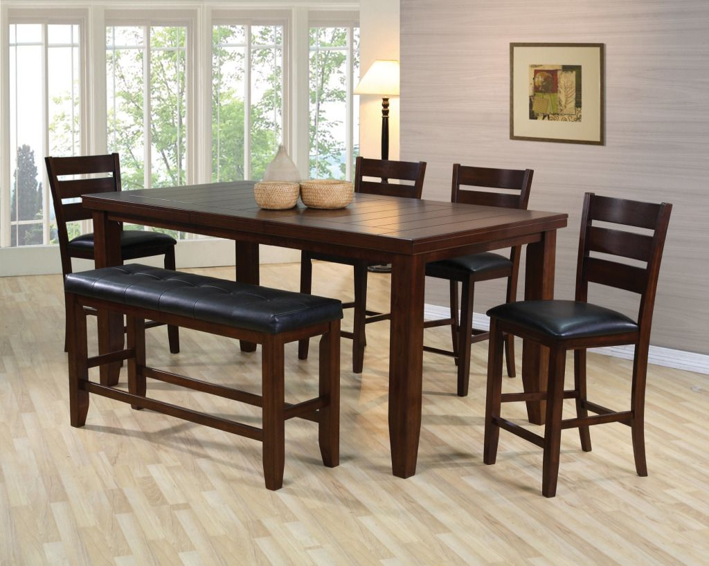 Unique Espresso Counter High Dining Table W 4 Chairs And Bench Dream Rooms Furniture High Dining Table Cheap Dining Room Sets Tall Dining Room Table
