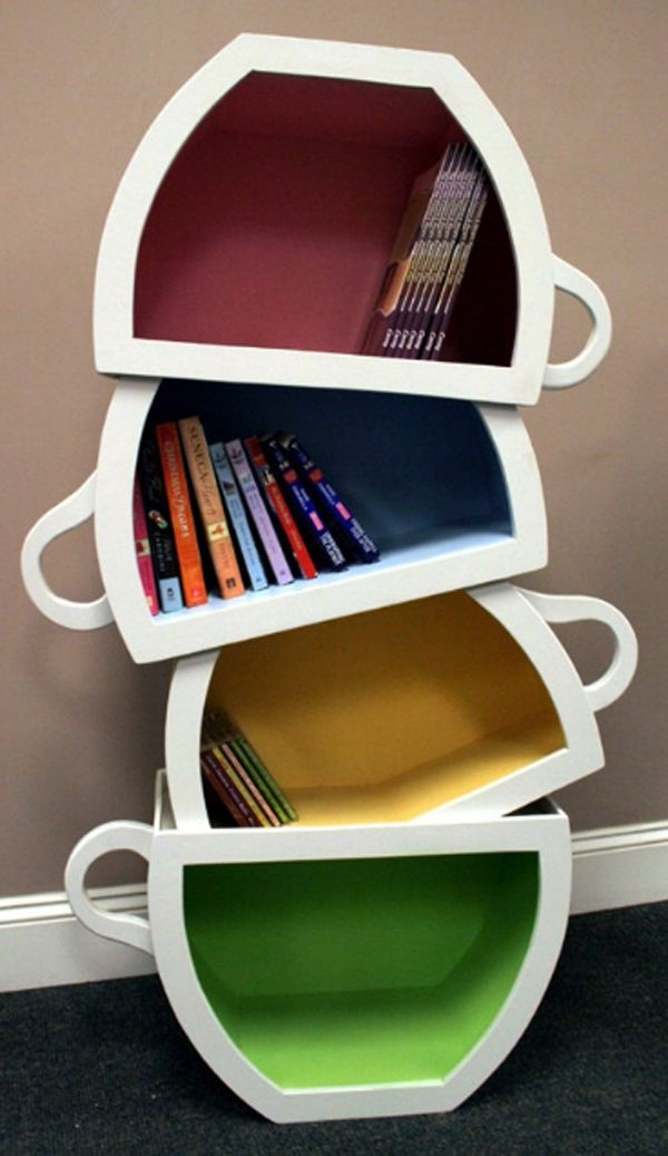 creative kid shelves with stacked teacup Creative Kids Bookshelf Design  With Stacked Teacup. #bookshelves