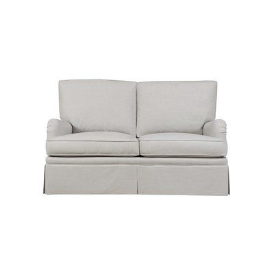 Duralee Furniture London Loveseat Body Fabric Amboise Stripe Gold Melon Sofa Upholstery Furniture Living Furniture