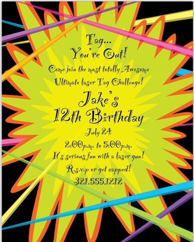 Laser Tag Party Invitation For Madison Pinterest Laser Tag