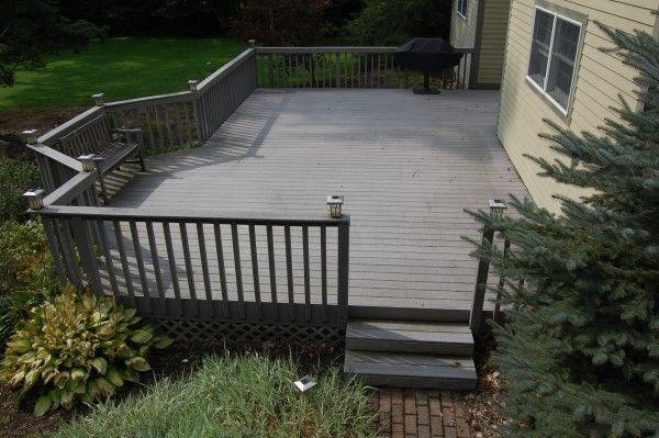 Gray Deck With Yellow House Wood Deck Decks Backyard Deck Colors