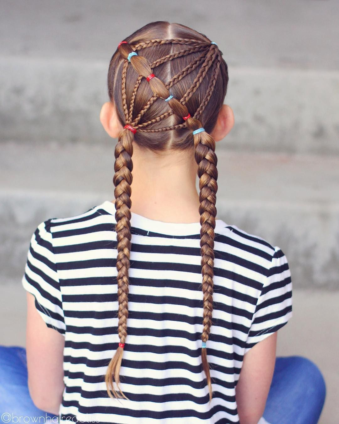 Small braids large braids ponytails cute hairstyle for girls