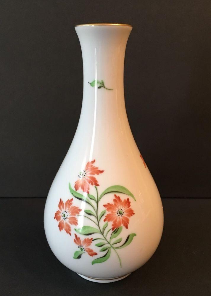 Vintage Herend Vase Student Mark Hungary Porcelain Orange Ebay