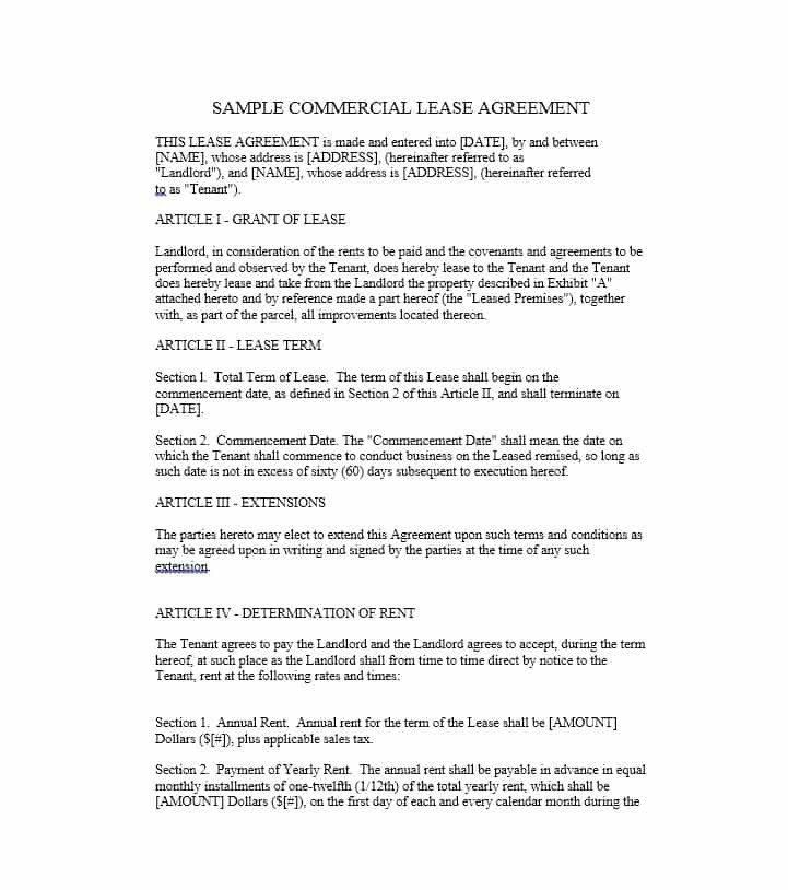 Commercial Lease Form 26 Free Mercial Lease Agreement