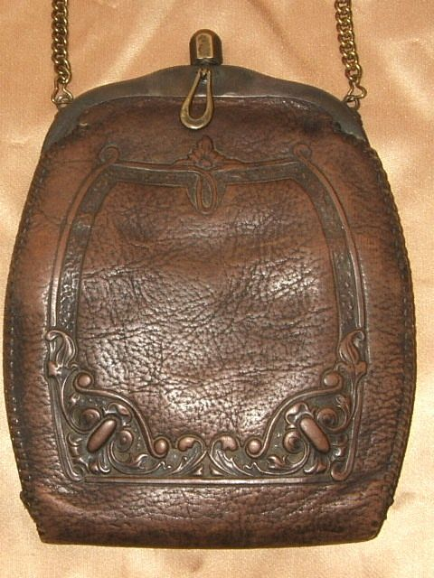 Antique 1900 s Art Nouveau Jemco Hand Tooled Floral Brown Leather Purse Bag 04632d6bf8