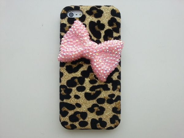 I found 'New Chic Glam Big Bling Bow Golden Sparkle Leopard Pattern iPhone Case, Samsung Phone Case' on Wish, check it out!