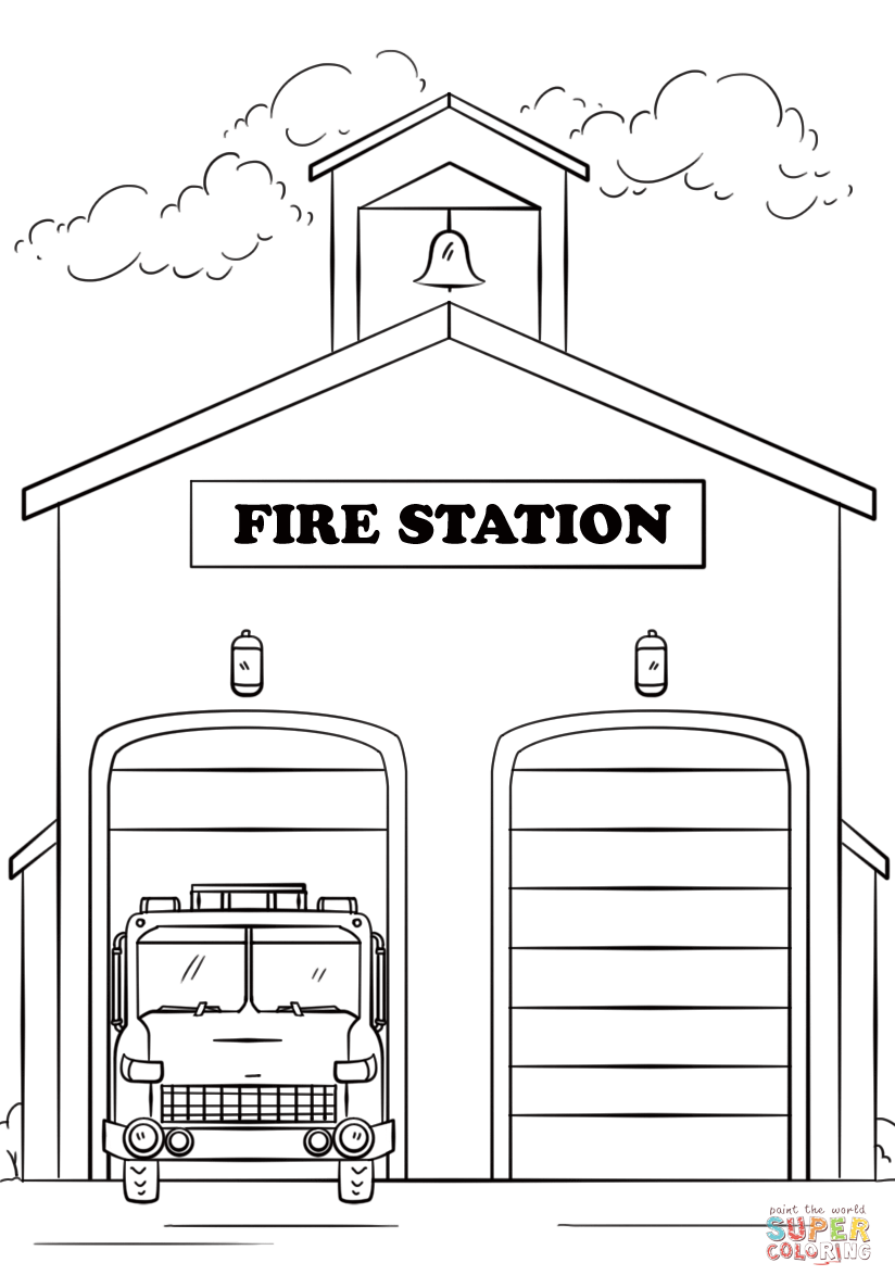 Fire Station Coloring Pages Fire safety preschool crafts