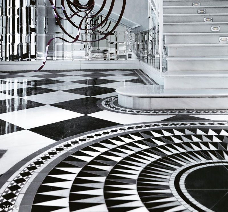 Cool Floors: Sicis :: Black & White Cosmati #SICIS #Mosaic SO COOL