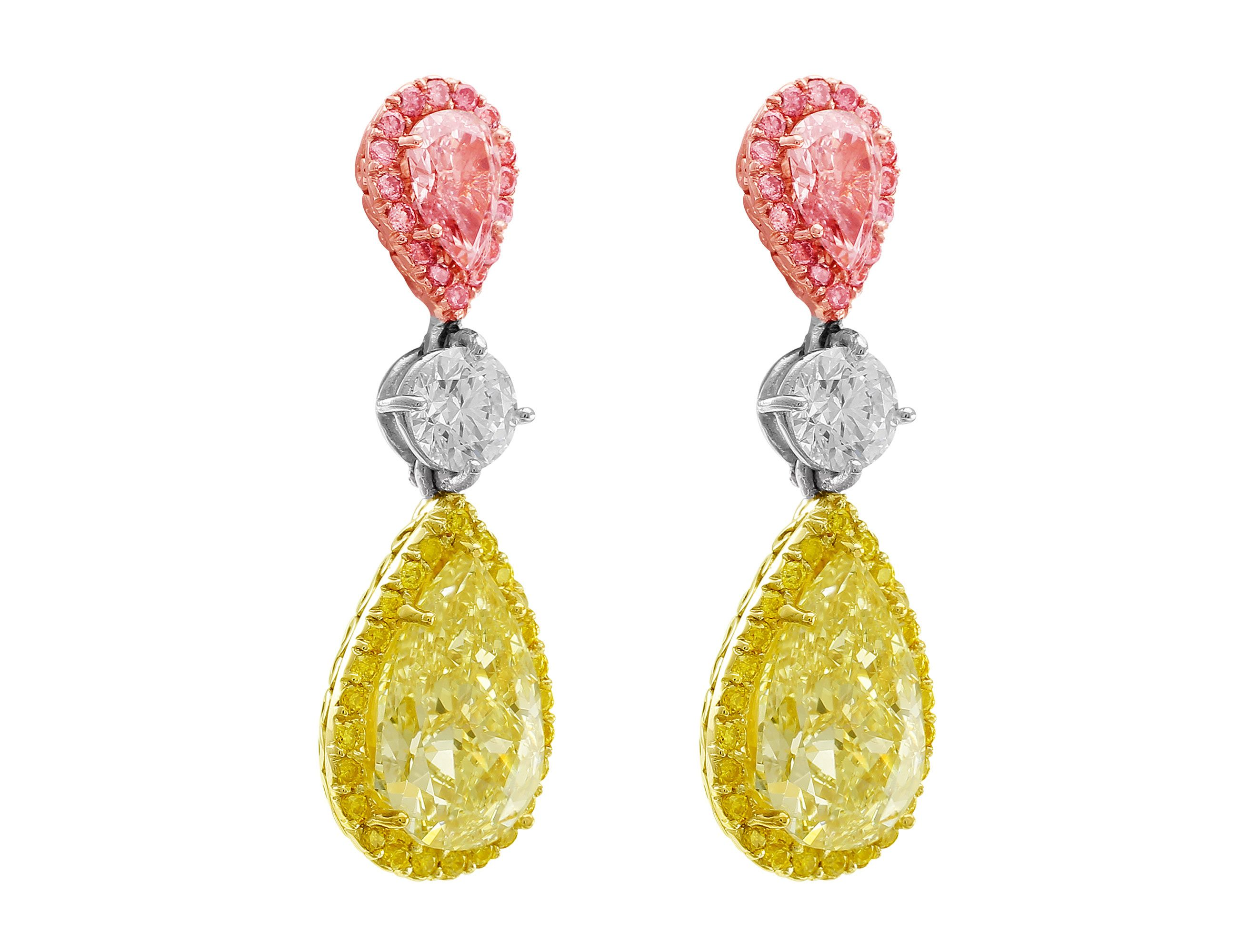 diamond large earrings giovane cabochon loading and emerald pear white shaped chandelier multi