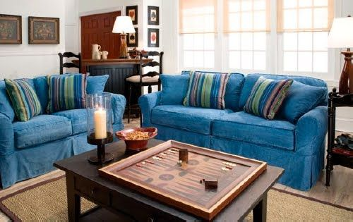 Denim Couch Machine Washable Slipcover And Removable Backrest Cushions