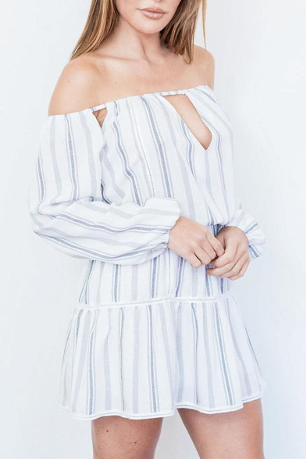 Roe may stripe offshoulder dress minis los angeles and sleeve
