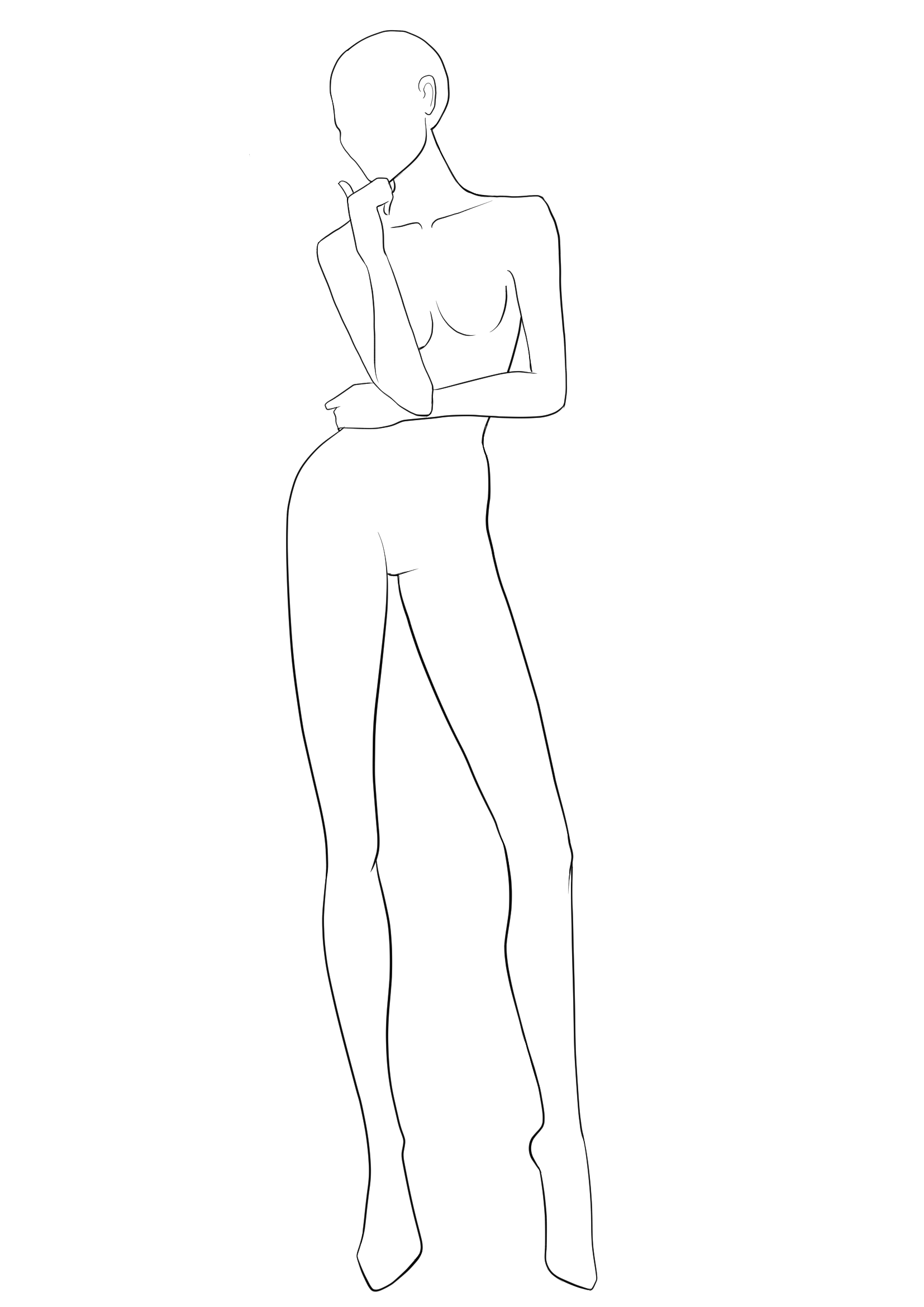 Front View Fashion Figure Template For Designing Sketches