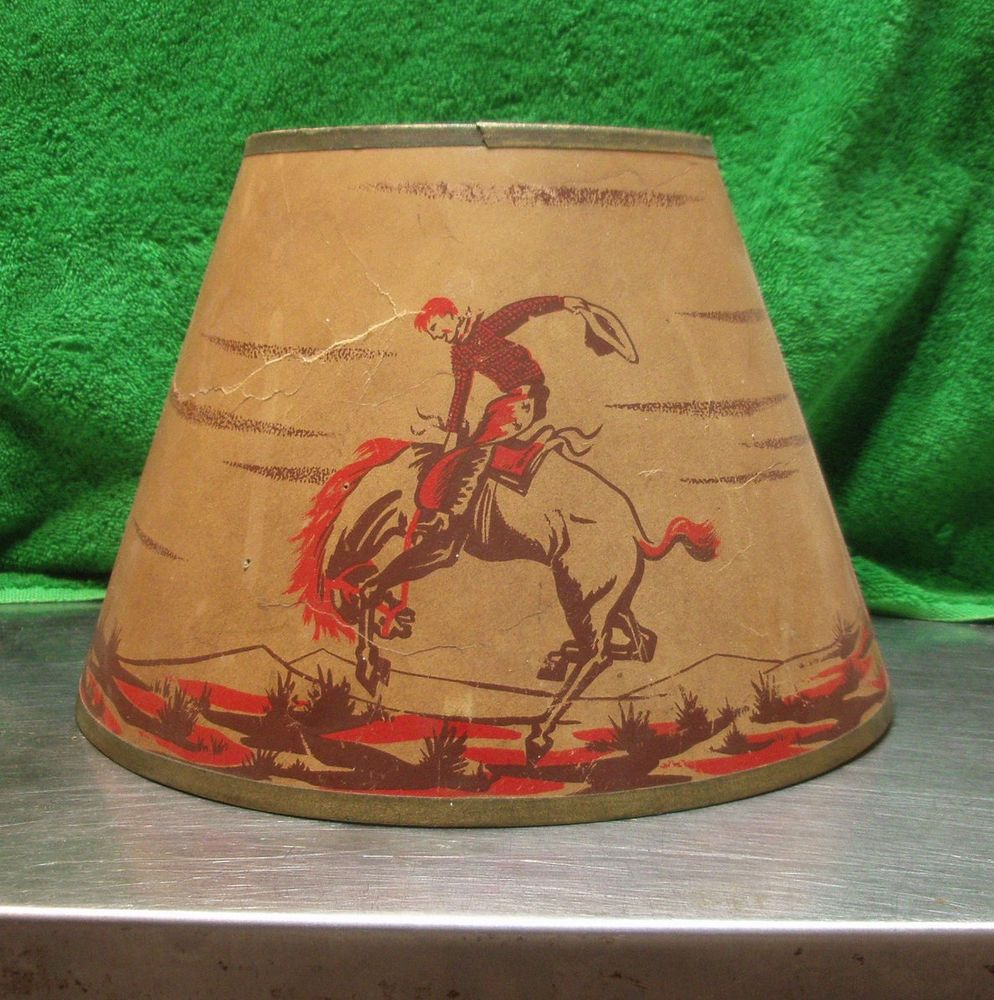 Vintage 1950s cowboy paper lamp shade boys room also lamp co vintage 1950s cowboy paper lamp shade boys room also lamp co bucking bronco mozeypictures Images