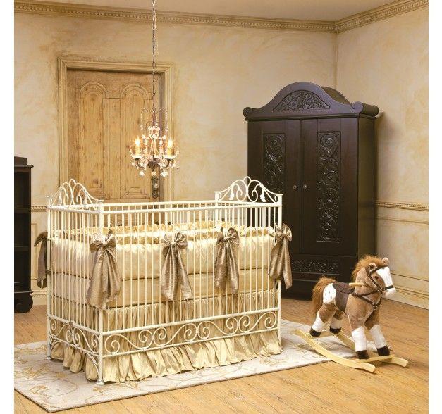 Casablanca Iron Convertible Crib Cot In Antique White