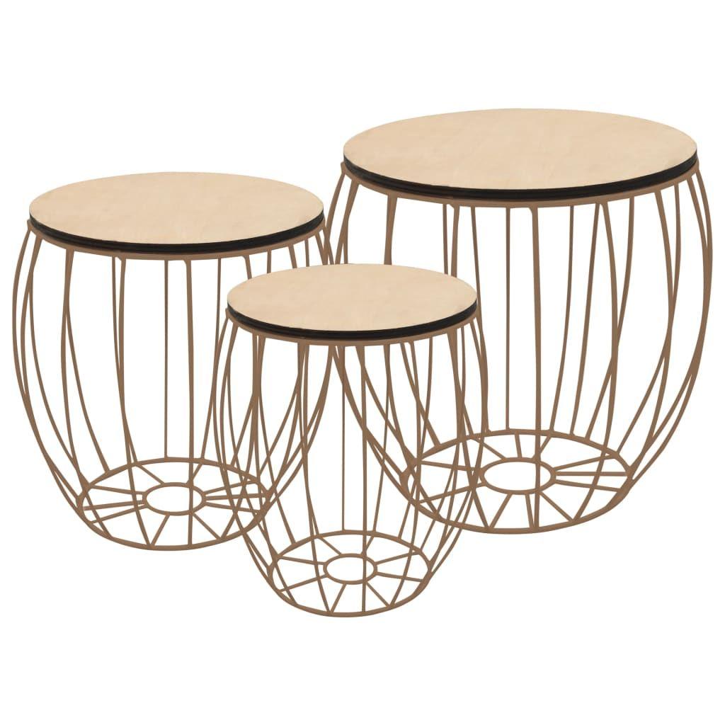 Couchtisch 3er Set Beistelltisch Sofatisch   Wohnzimmertisch Modern Design Pappelsperrholz Eisen   2244