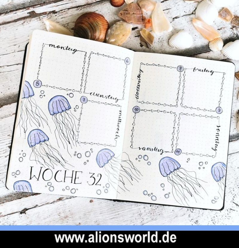 Bullet Journal August 2019 - Quallen/Jellyfish Themed