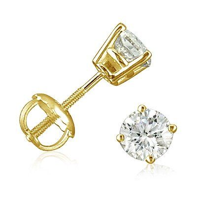 1 2ct Diamond Stud Earrings Set In 14k Yellow Gold With Backs Was