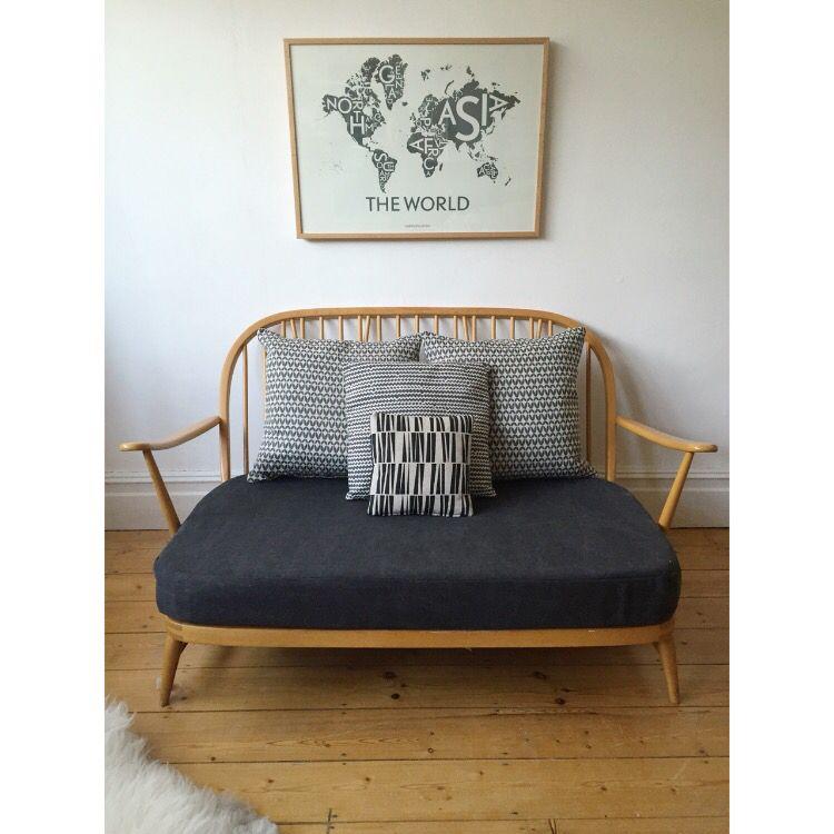 2 Seater Bedroom Sofa: Vintage Ercol Two Seater Sofa... Owlandtheelephant.co.uk