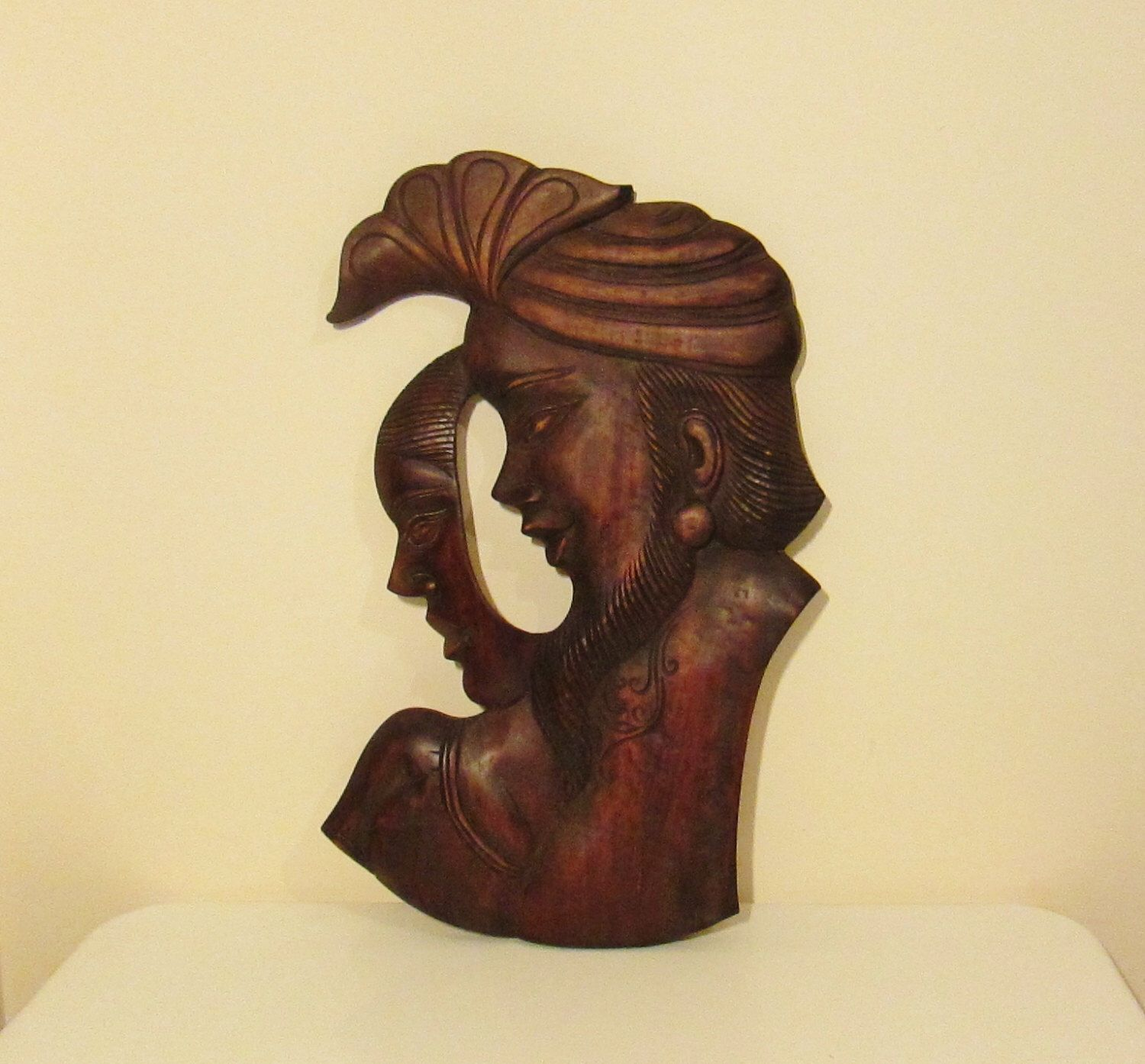 Very Large Old Indian Hand Carved Mahogany Wall Plaque Of The Lovers ...