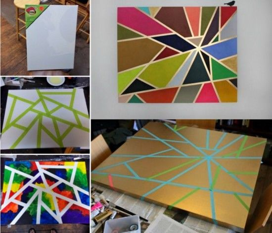 Painting Ideas With Tape: DIY Geometric Tape Painting Pictures, Photos, And Images