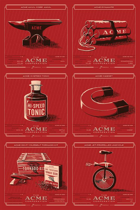 ACME Inventory prints by Rob Loukotka. (6) 8″ x 8″ 2-color Screenprints. Ed of 100 S/N.