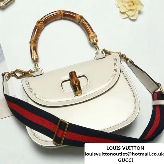 d1680d459942cf Gucci Bamboo Classic Frame Print Round Top Handle Bag 495880 White 2017  (2A010-7100827 )