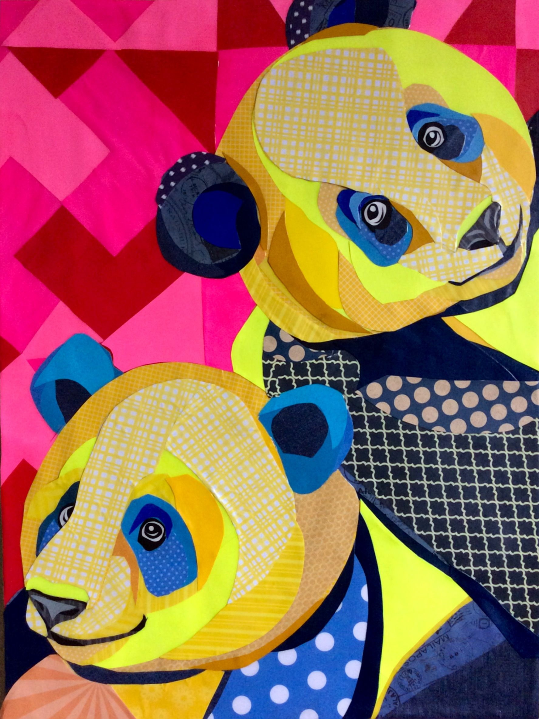Scrapbook paper collage - Cut Paper Collage Perky Pandas 18 X24 By Laura Yager
