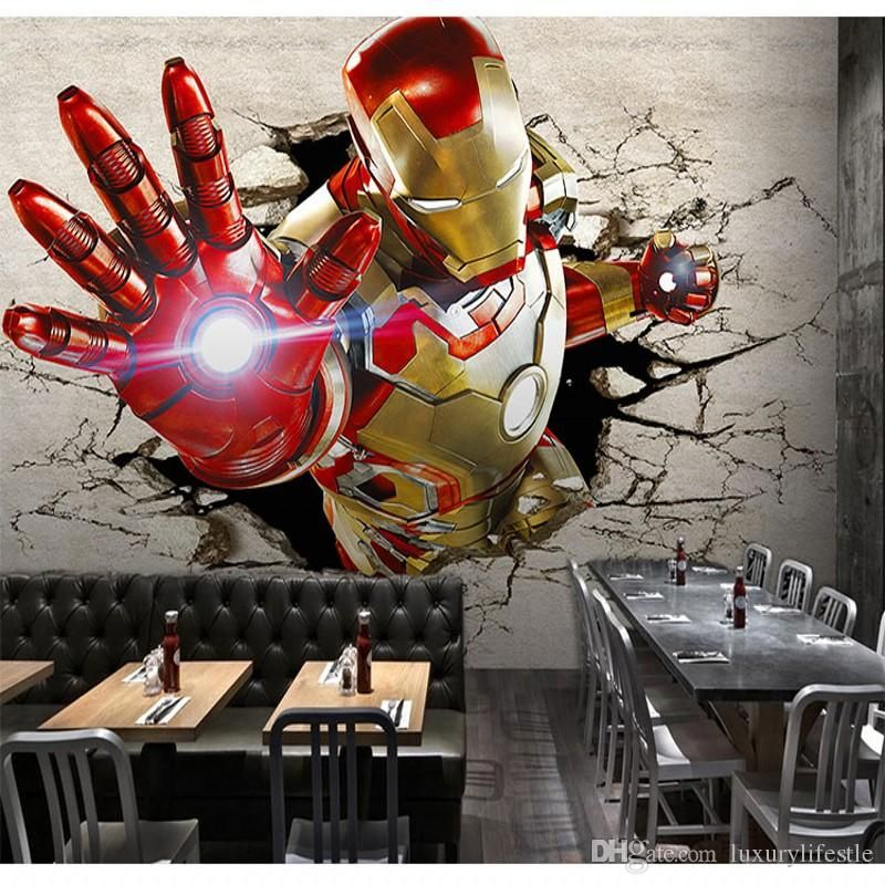 3d Stereo Custom Locomotive Murals Iron Man Broken Wall