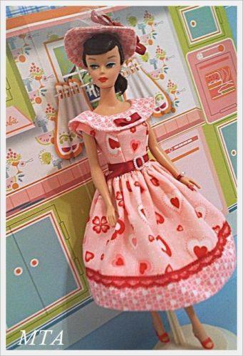 Be My Valentine 60s Style Handmade by MTA Vtg Repro Barbie 4pc Dress Chapeau | eBay