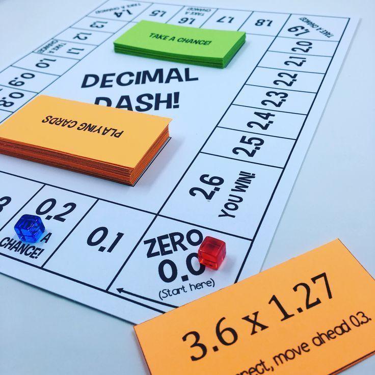 Decimal dash a multiplying decimals board game math