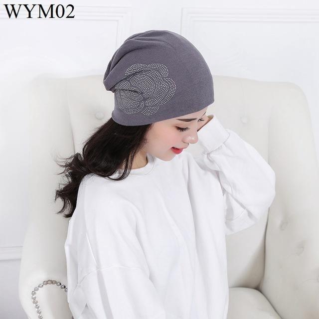 New Women Knit Baggy Beanie Hat cotton Warm flower Sleeve Head Cap for girl