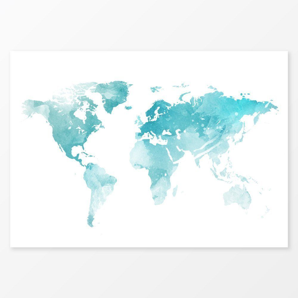 Ice blue world map watercolor decor size 36x24 large wall decor ice blue world map watercolor decor size 36x24 large wall decor travel map art gumiabroncs Image collections