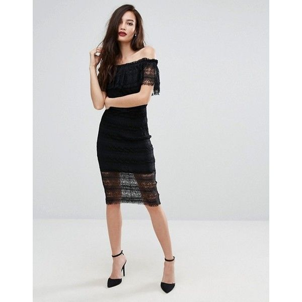 Bodyfrock Off Shoulder Midi Lace Dress with Belt ($255) ❤ liked on ...
