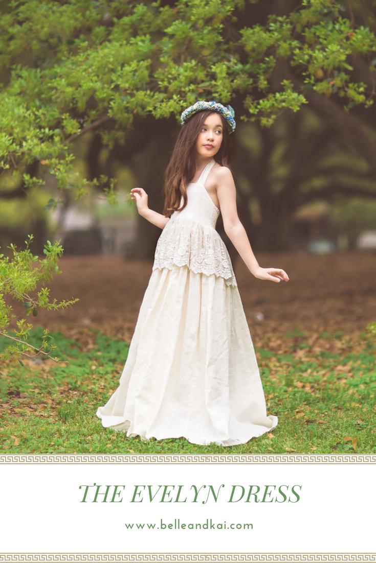 Rustic wedding flower girl dresses  The Evelyn linen maxi dress in ivory for a flower girl dress for a