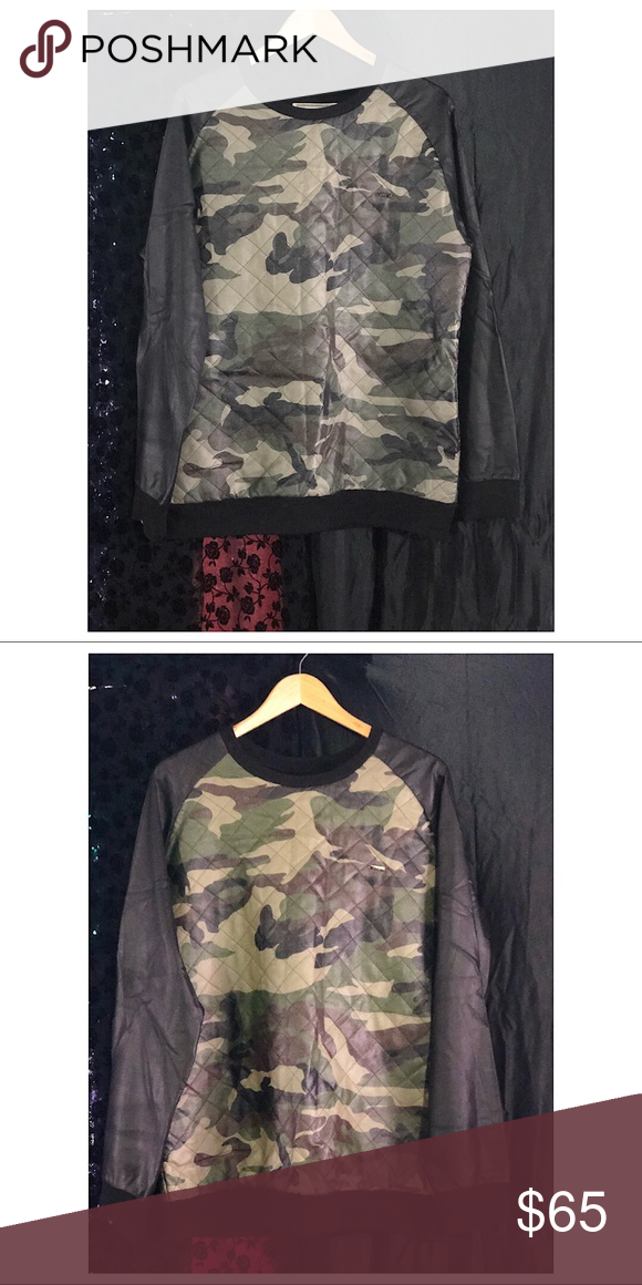 140b09516e516 Kith Men's army print sweater Men's Kith faux leather sweater. Long sleeve. Army  print. Warm great condition. Sweaters Crewneck