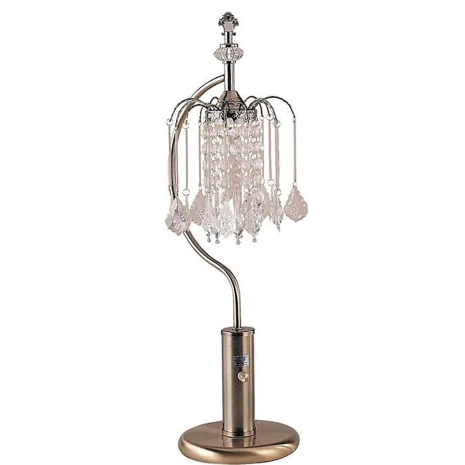 Ore International 27 In Antique Brass 3 Way Chandelier Table Lamp With Crystal Shade Lowes Com Chandelier Table Lamp Gold Table Lamp Lamp