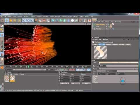 Cinema 4D tutorial: Thinking Particles, Tracer object with Hair Material