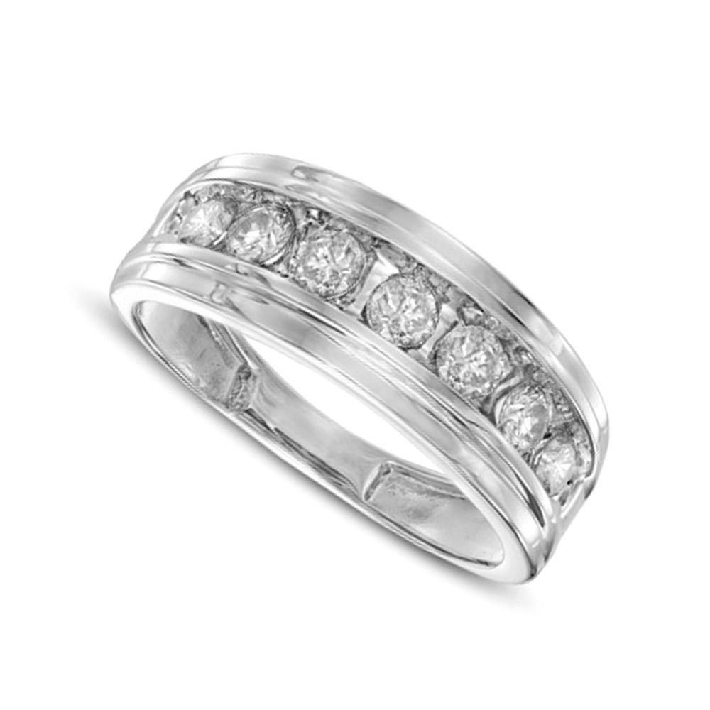 Mens 1 ct diamond comfort fit anniversary band in 10k