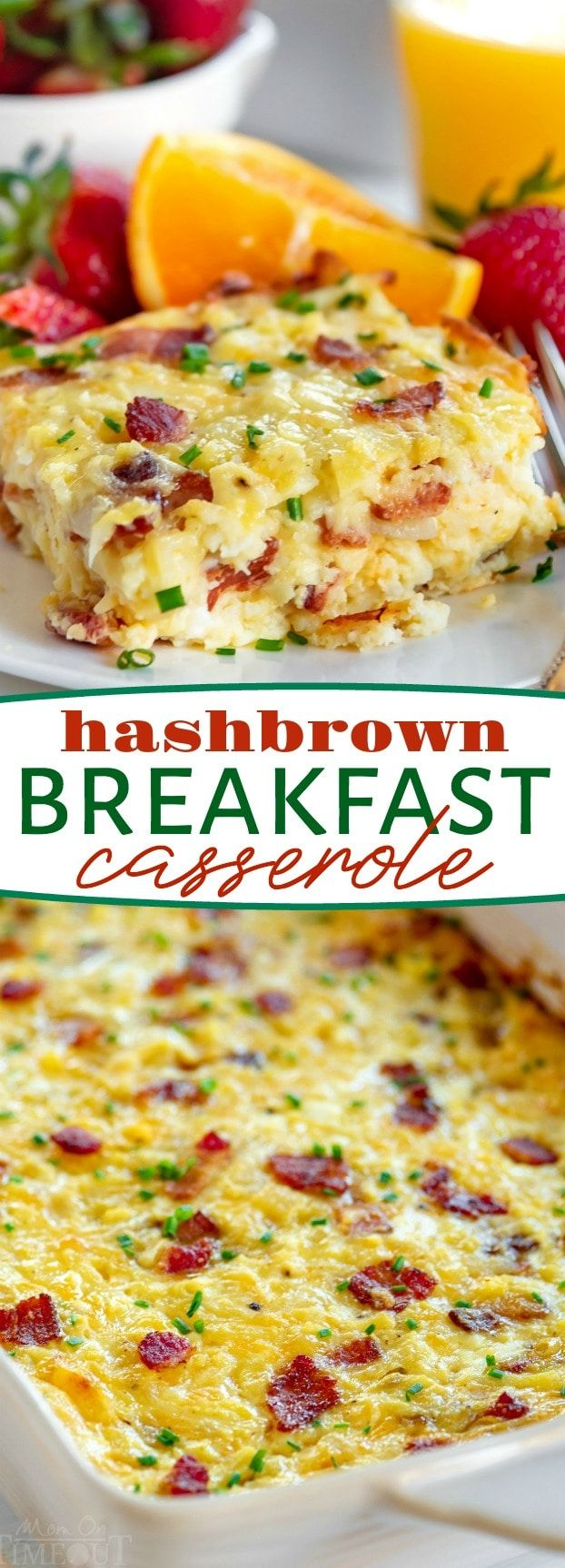 Easy Hashbrown Breakfast Casserole is perfect for entertaining a crowd or serving up a simple weekend brunch Made with frozen hashbrowns eggs bacon and three different ty...