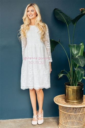2130ff510120 Beautiful White Lace Modest Dress Bridesmaids Dress, Church Dresses, dresses  for church, modest bridesmaids dresses, trendy modest dresses, modest  womens ...