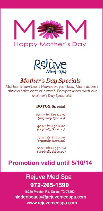 Mother S Day Special Botox Specials By Rejuve Med Spa