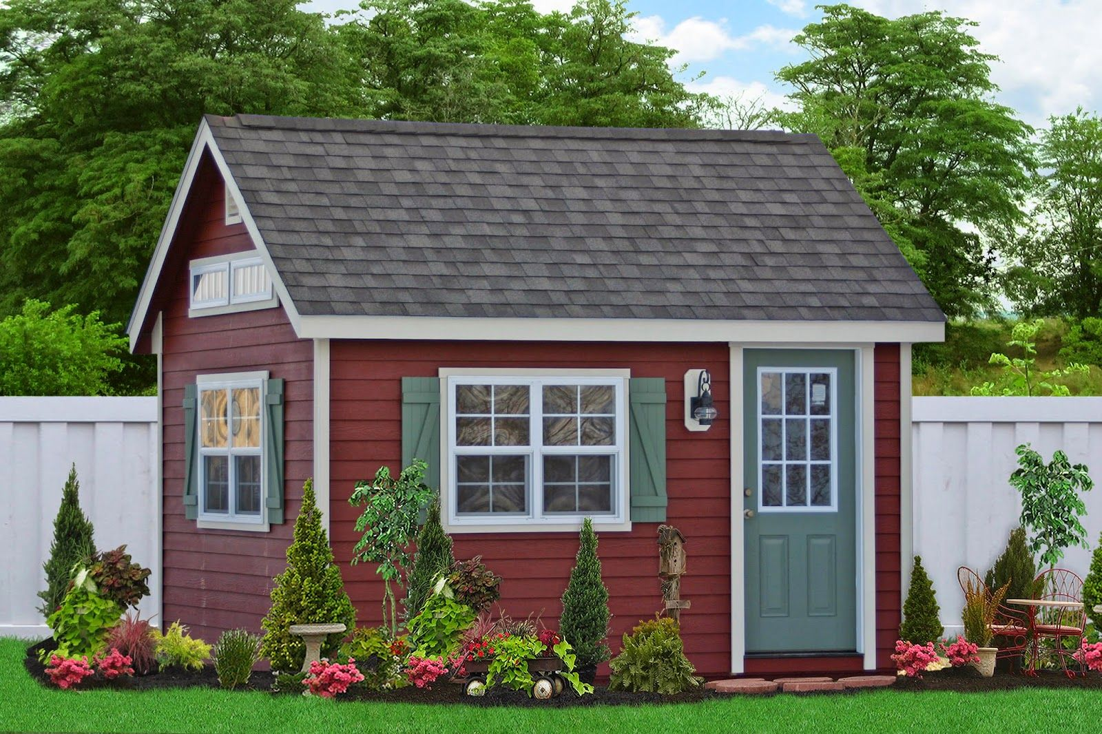 garden decor fair image of garden decorating ideas using maroon prefab studio garden shed along with grey single shed door and light grey shed roof tile - Garden Sheds Easton Pa