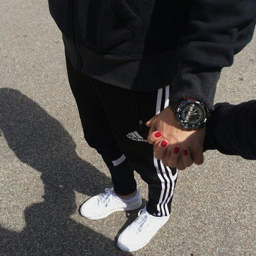 Image de couple, adidas, and black