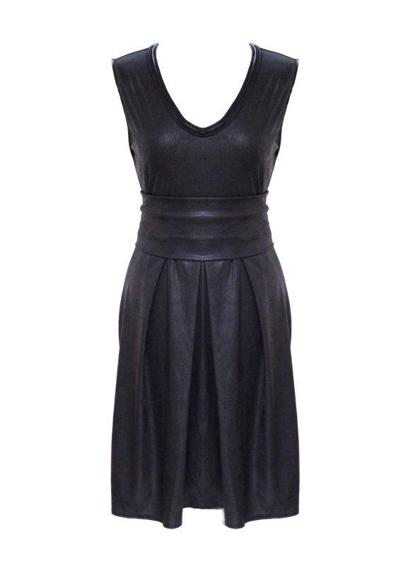 Little Black Dress Faux Leather Pleated Plus Size Party
