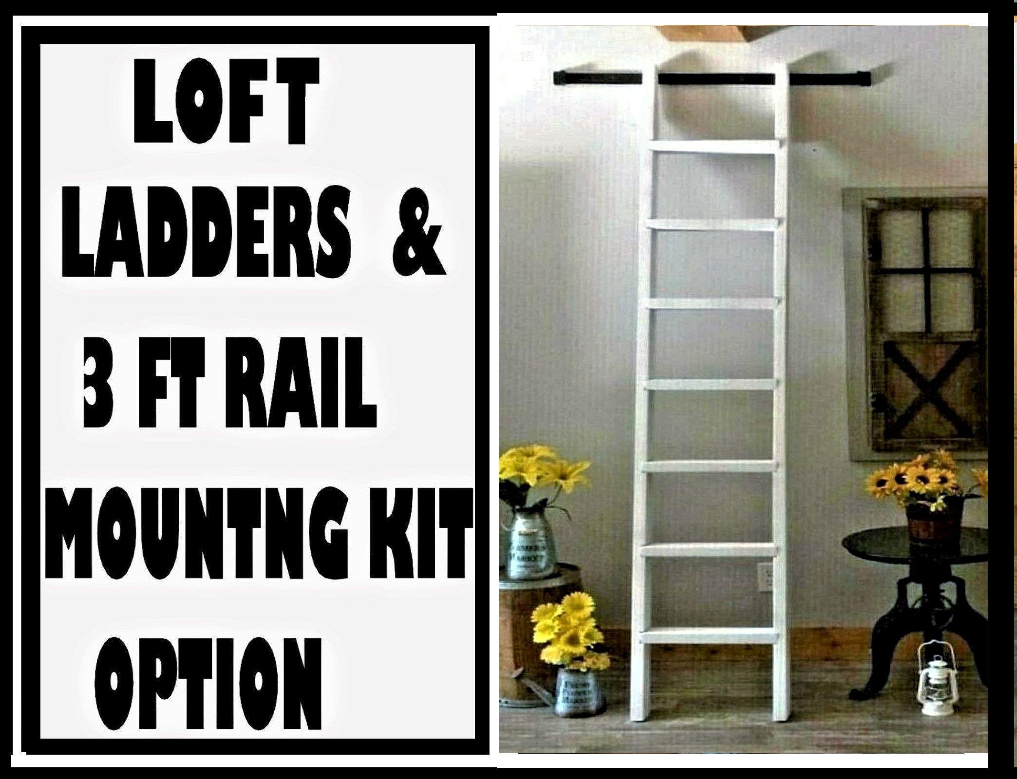 White Loft Ladder Mountng Kit Option 3ft Rail Top Hooks Hooks Come Atached To Ladder Then Ladder Hangs Onrail Wood Loft Ladders In 2020 Loft Ladder White Loft Ladder