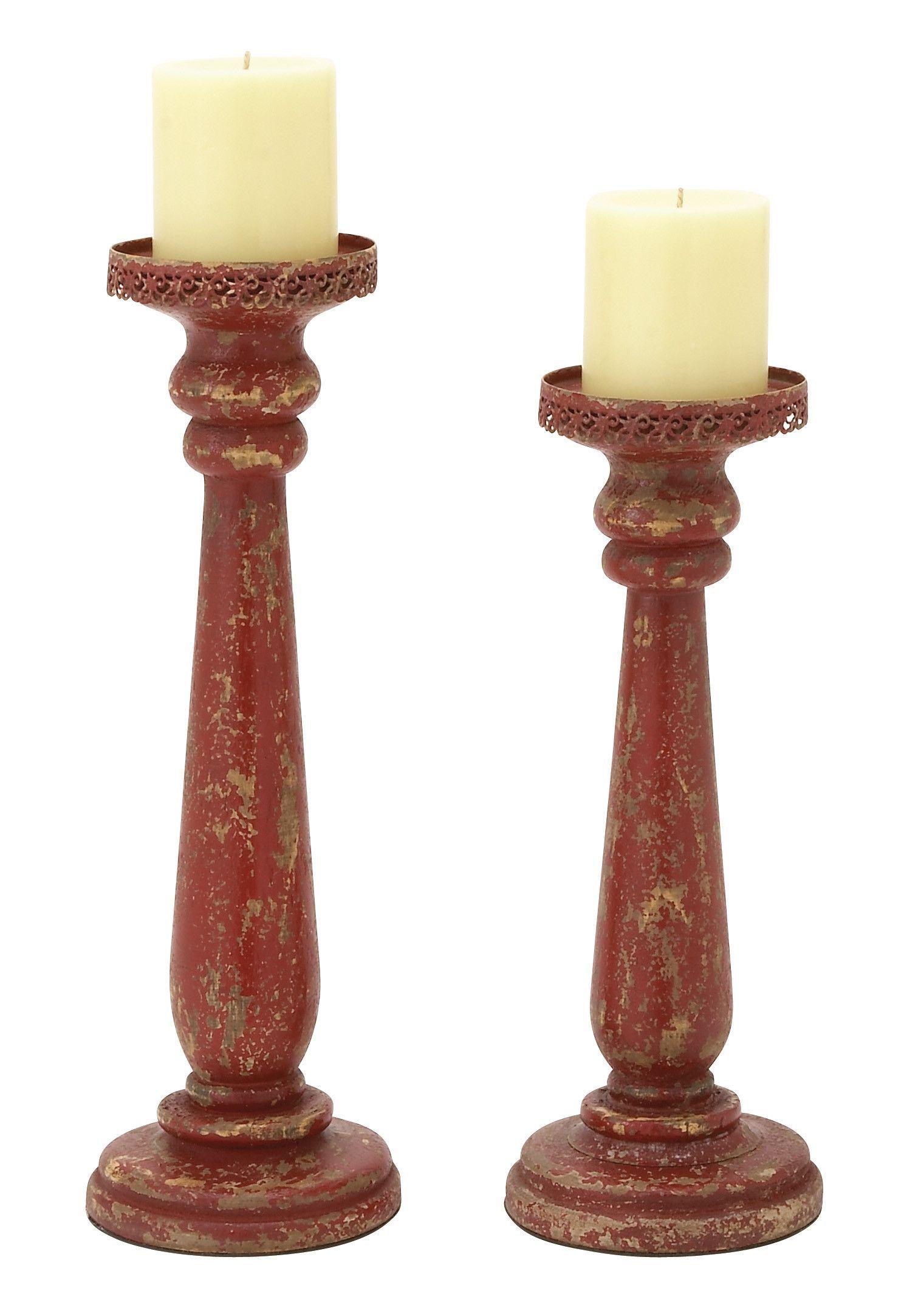 44411 Wood Candle Holder Set Of 2