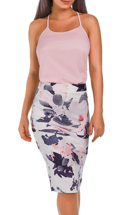 Pink Sleeveless Top and Flower Print Skirt | Blazer, Röcke und Outfit