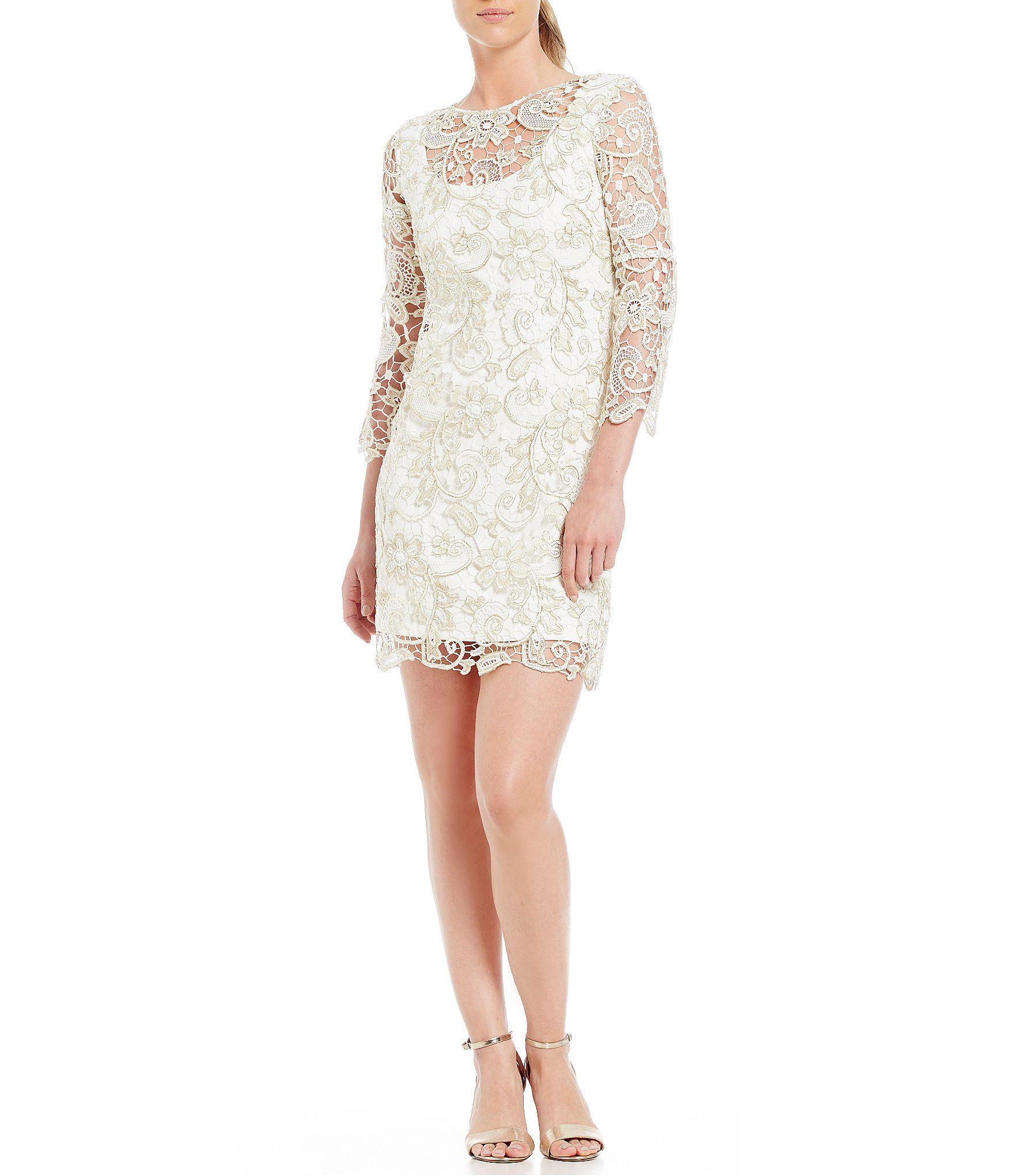 Marina Bellsleeve Metallic Lace Dress Dillards Dresses Metallic Cocktail Dresses Womens Cocktail Dresses