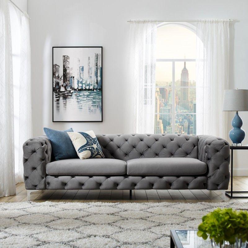 Sedacka Modern Barock Gray 3er Sofa Samt Sofa Mobeldesign